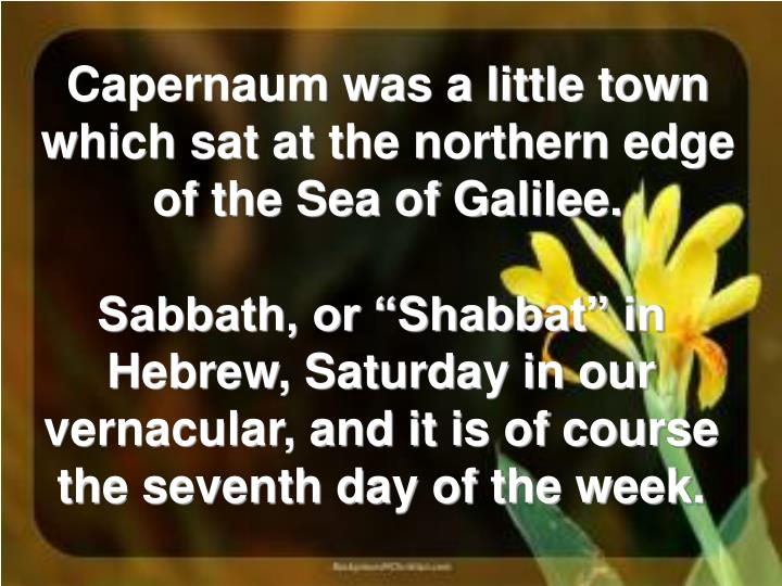 Capernaum was a little town which sat at the northern edge of the Sea of Galilee.