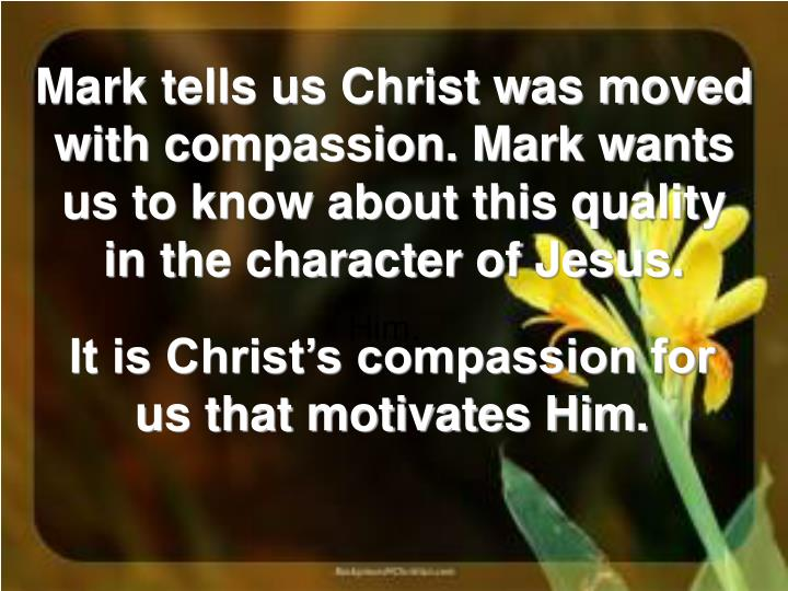 Mark tells us Christ was moved with compassion. Mark wants us to know about this quality in the character of Jesus.