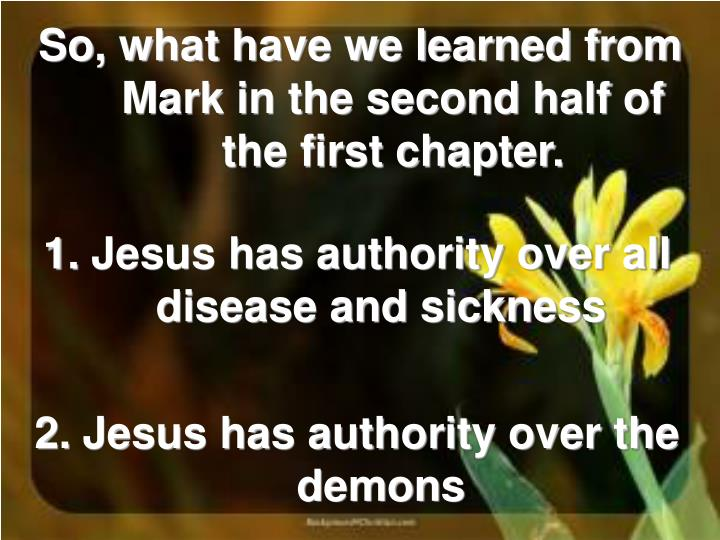 So, what have we learned from Mark in the second half of the first chapter.