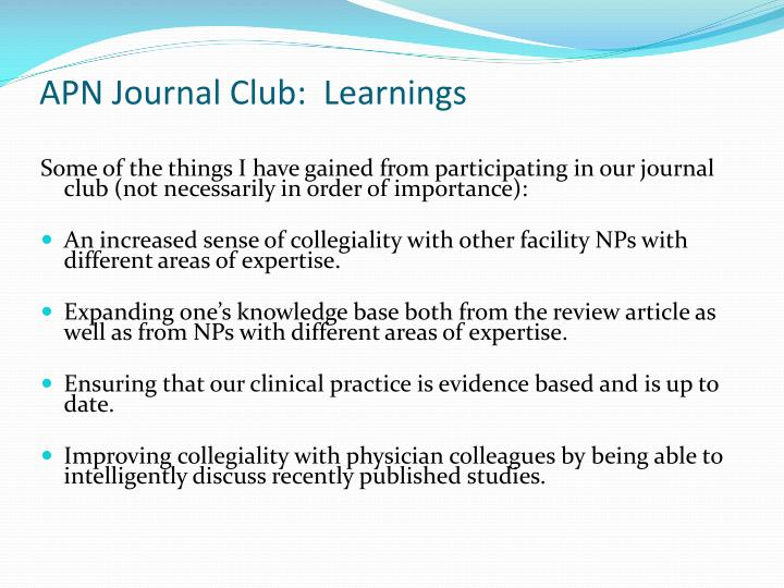 APN Journal Club:  Learnings