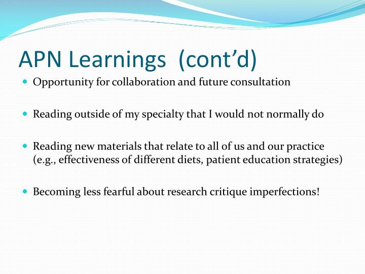 APN Learnings  (cont'd)