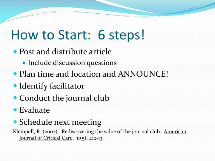 How to Start:  6 steps!