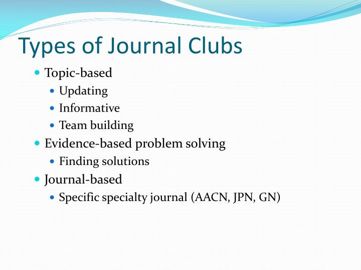 Types of Journal Clubs