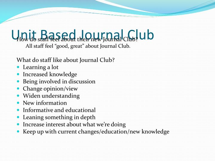 Unit Based Journal Club