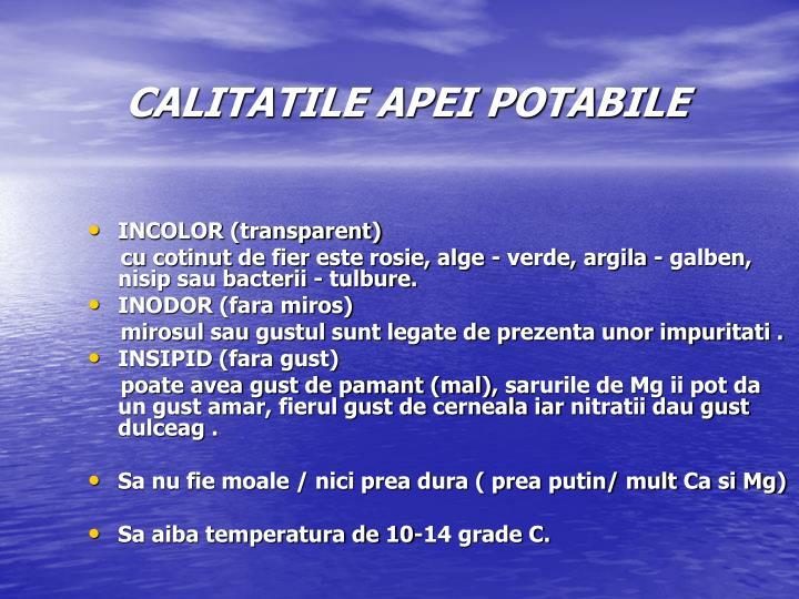 CALITATILE APEI POTABILE