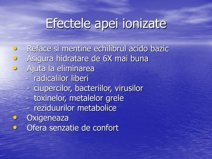 Efectele apei ionizate