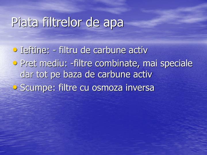 Piata filtrelor de apa