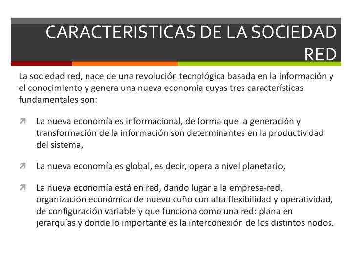 CARACTERISTICAS DE LA SOCIEDAD RED