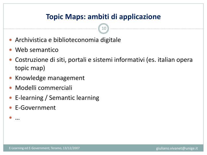 Topic Maps: ambiti di applicazione
