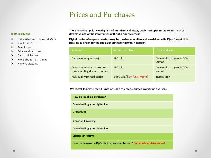 Prices and Purchases