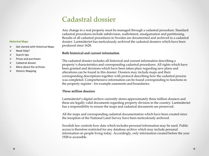 Cadastral dossier