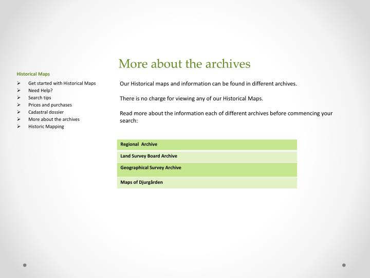 More about the archives