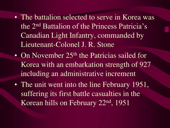 The battalion selected to serve in Korea was the 2