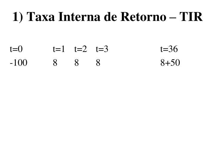 1) Taxa Interna de Retorno – TIR