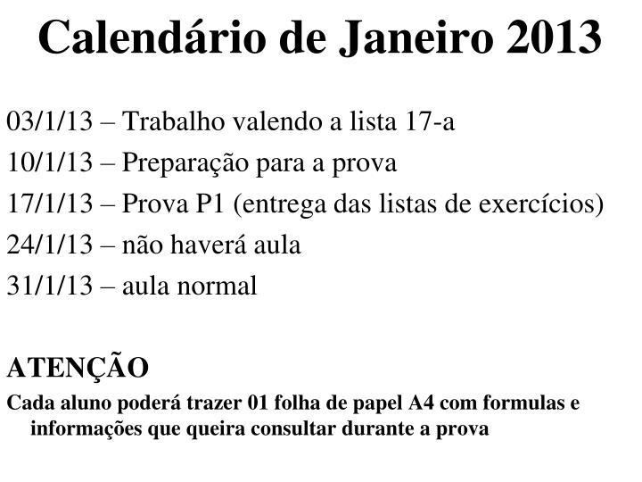 Calendário de Janeiro 2013