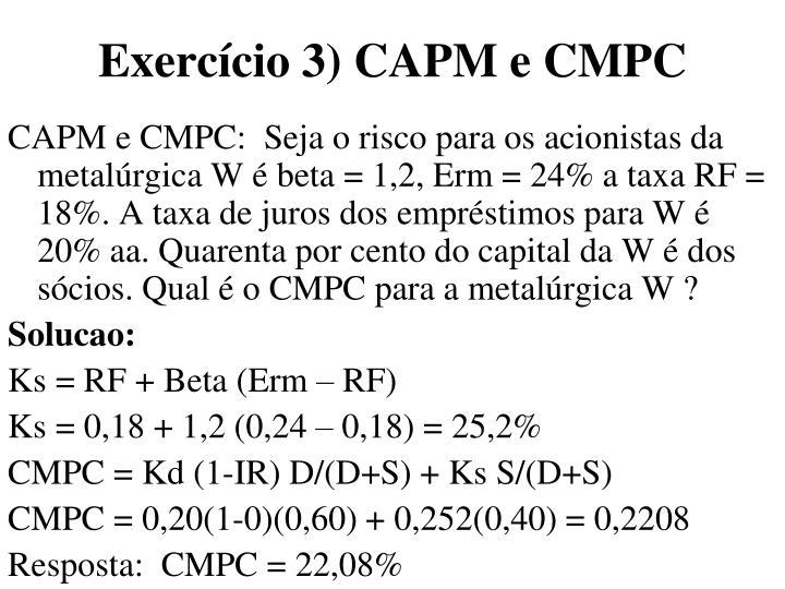 Exercício 3) CAPM e CMPC