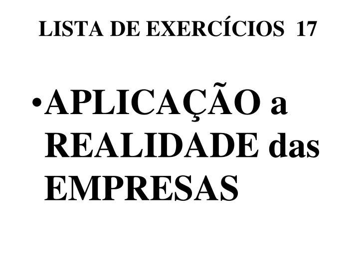 LISTA DE EXERCÍCIOS  17