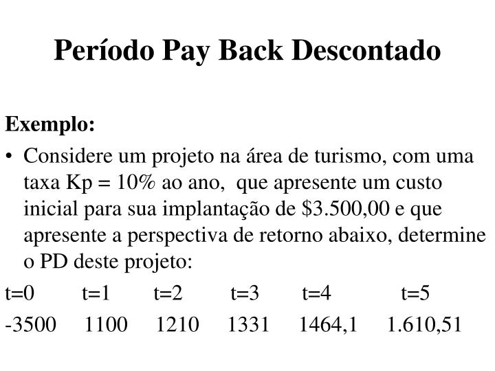 Período Pay Back Descontado