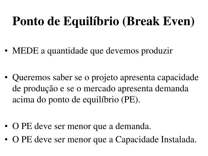 Ponto de Equilíbrio (Break Even)