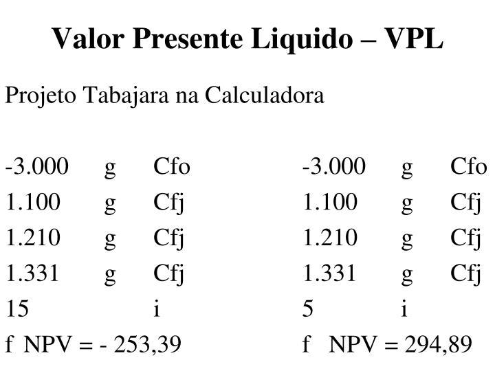 Valor Presente Liquido – VPL
