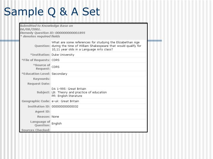 Sample Q & A Set