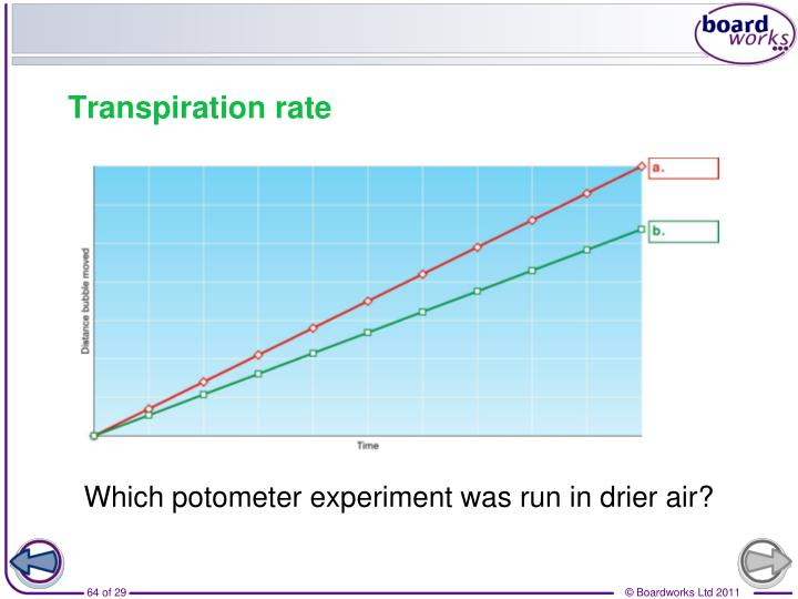 Which potometer experiment was run in drier air?