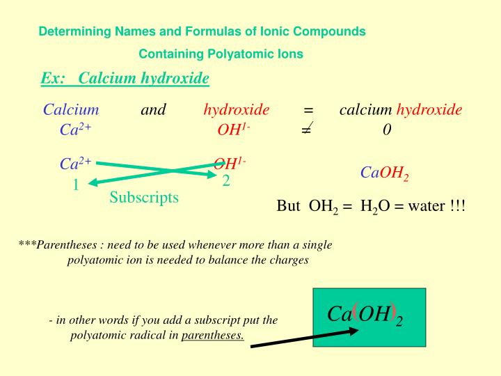 Determining Names and Formulas of Ionic Compounds