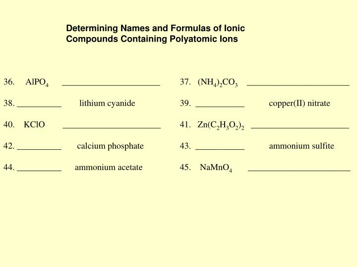 Determining Names and Formulas of Ionic Compounds Containing Polyatomic Ions