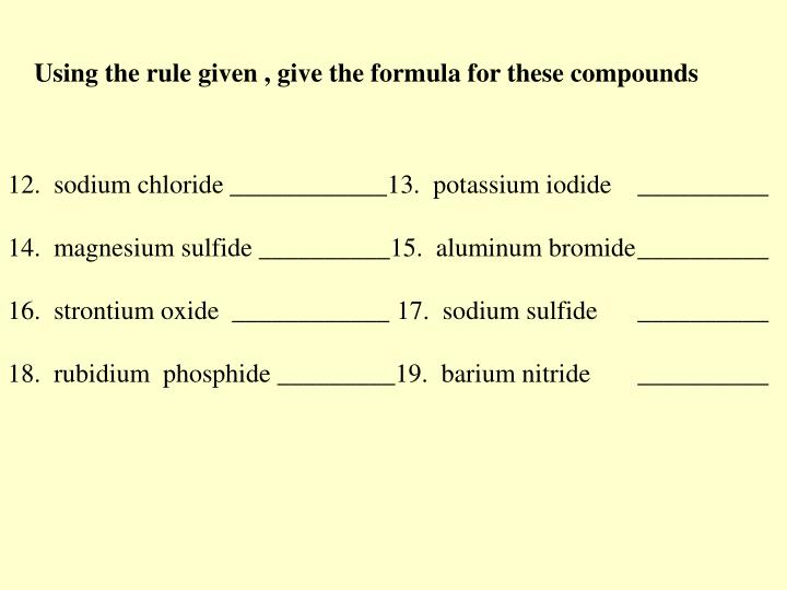 Using the rule given , give the formula for these compounds