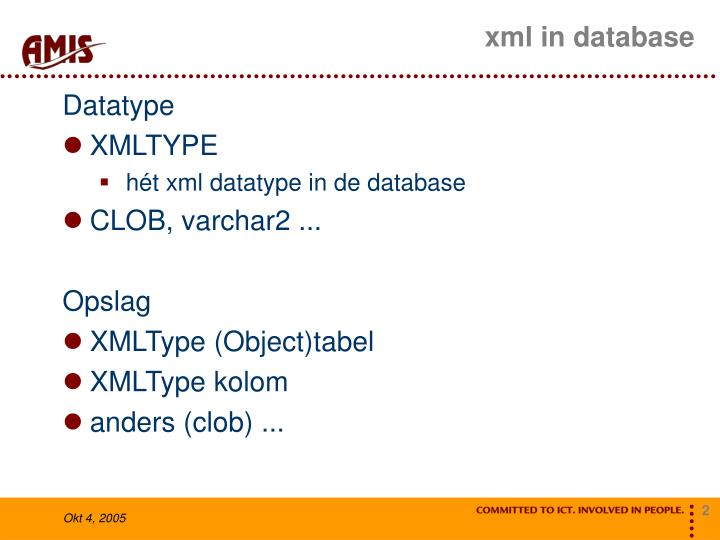 Xml in database