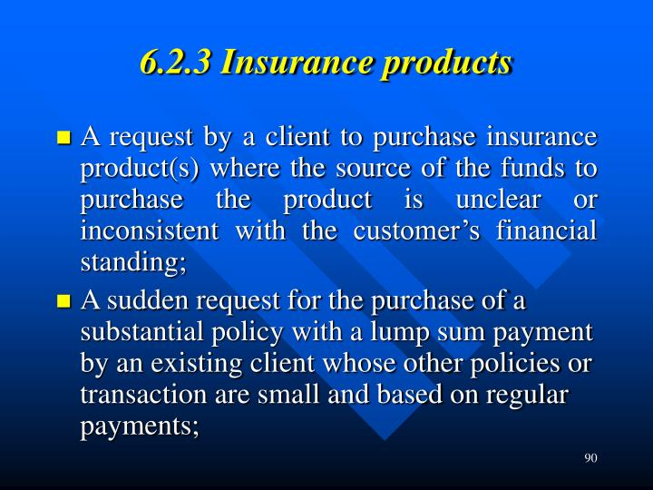 6.2.3 Insurance products