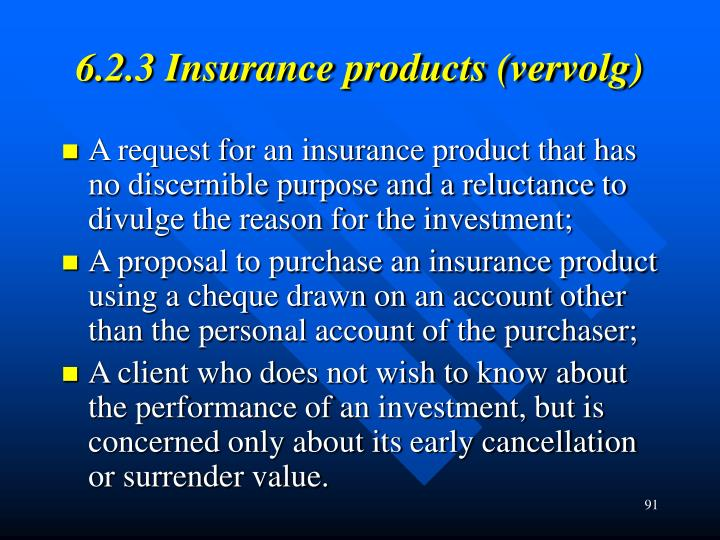 6.2.3 Insurance products (vervolg)