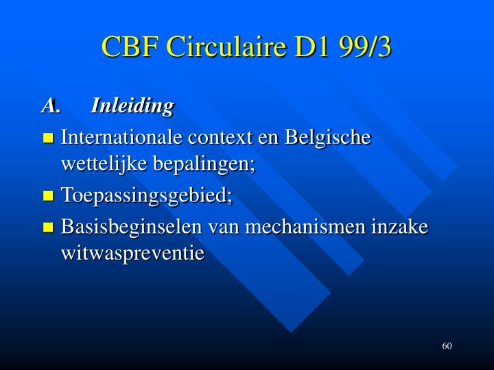 CBF Circulaire D1 99/3