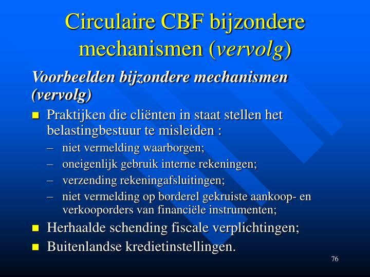 Circulaire CBF bijzondere mechanismen (