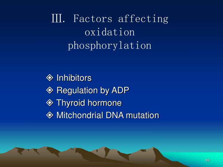 Ⅲ. Factors affecting oxidation