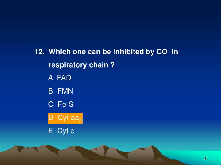 12.  Which one can be inhibited by CO  in