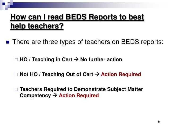How can I read BEDS Reports to best help teachers?
