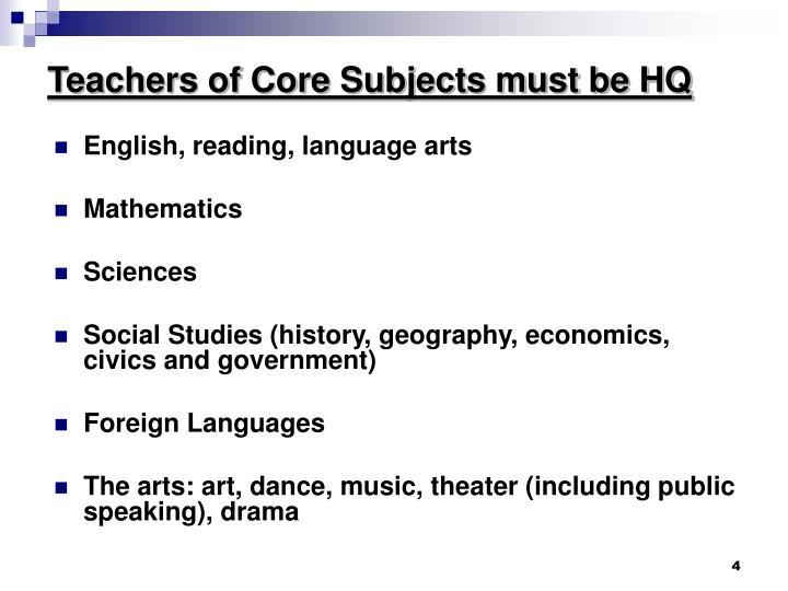 Teachers of Core Subjects must be HQ