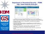 department of homeland security fema http www hazards fema gov