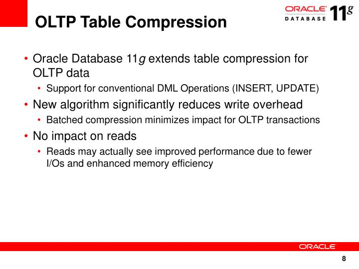 OLTP Table Compression