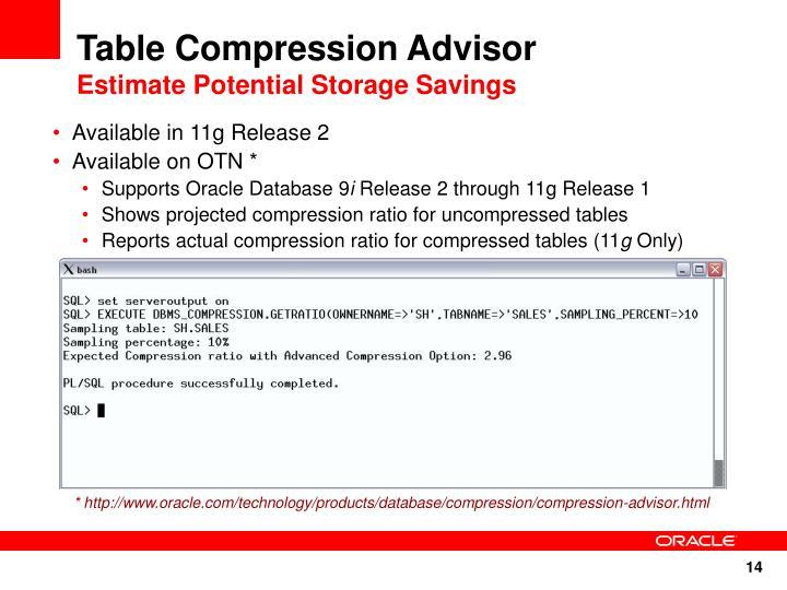 Table Compression Advisor