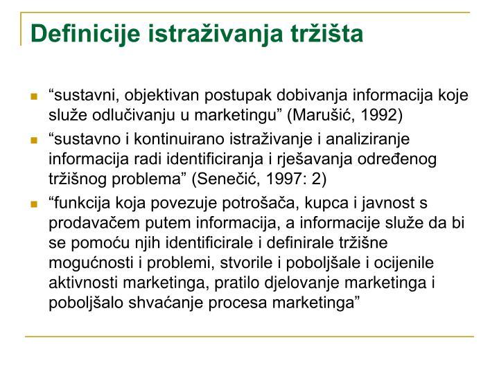 Definicije istraživanja tržišta