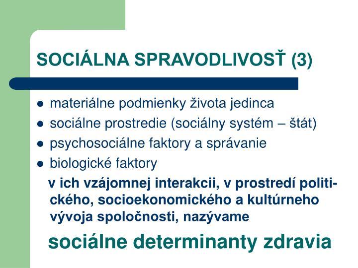 SOCIÁLNA SPRAVODLIVOSŤ (3)