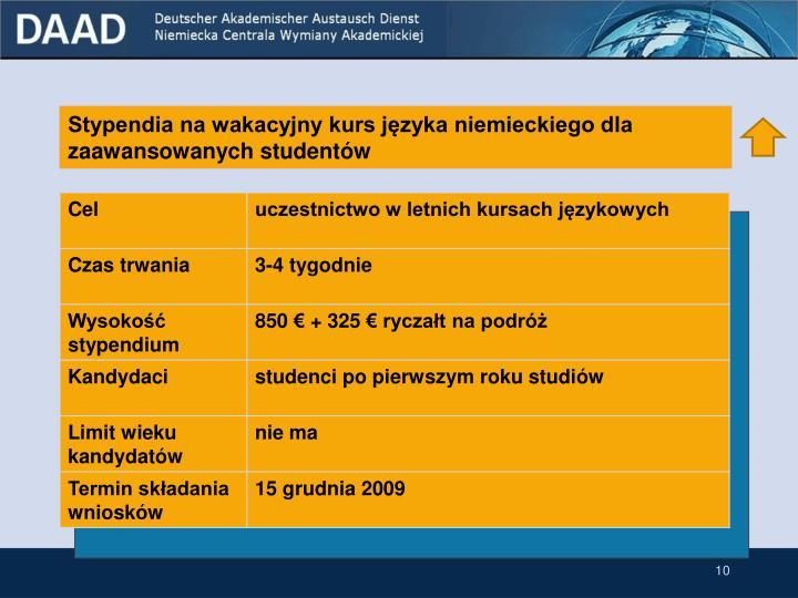 Stypendia na wakacyjny kurs języka niemieckiego dla zaawansowanych studentów