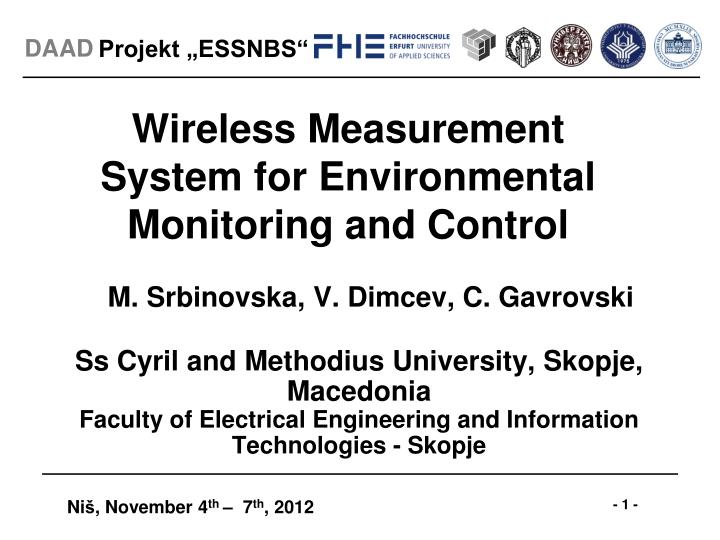 Wireless measurement system for environmental monitoring and control