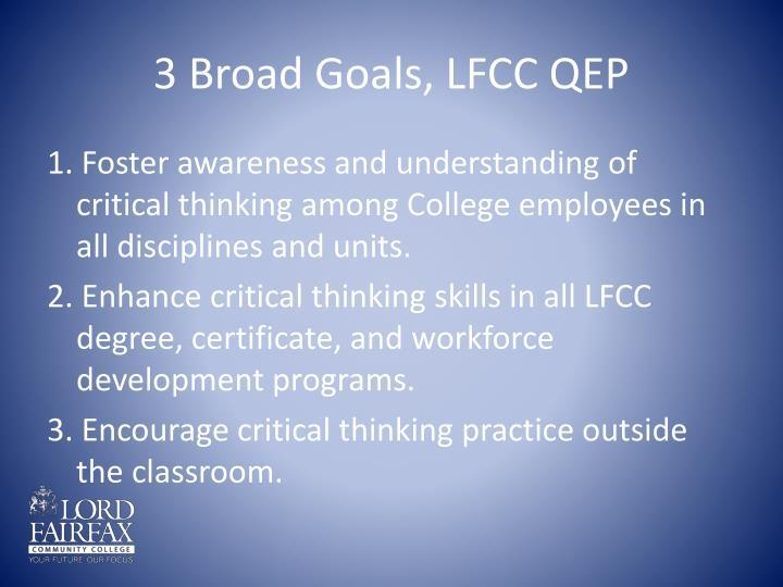 3 Broad Goals, LFCC QEP