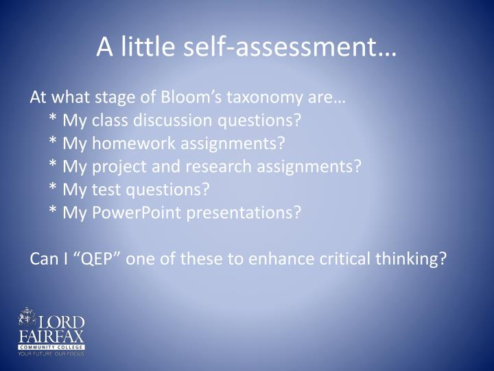 A little self-assessment…
