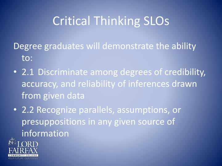 Critical Thinking SLOs