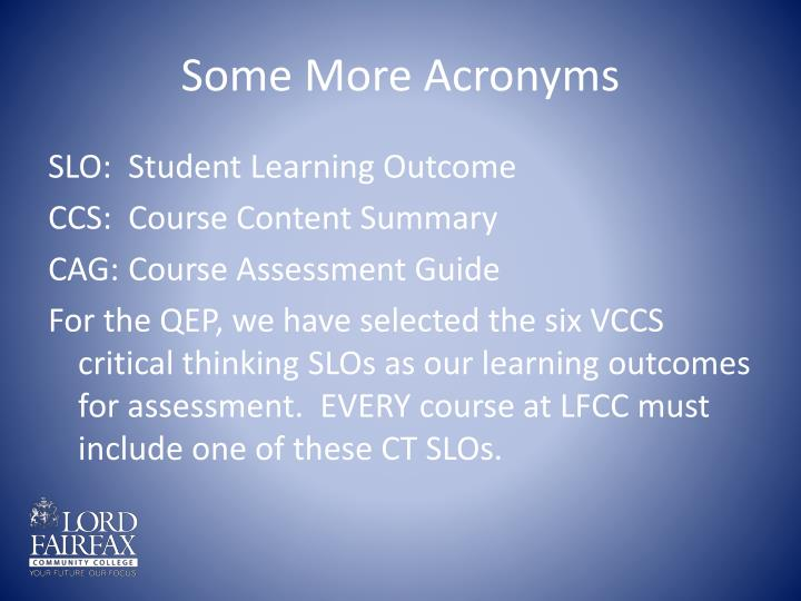 Some More Acronyms