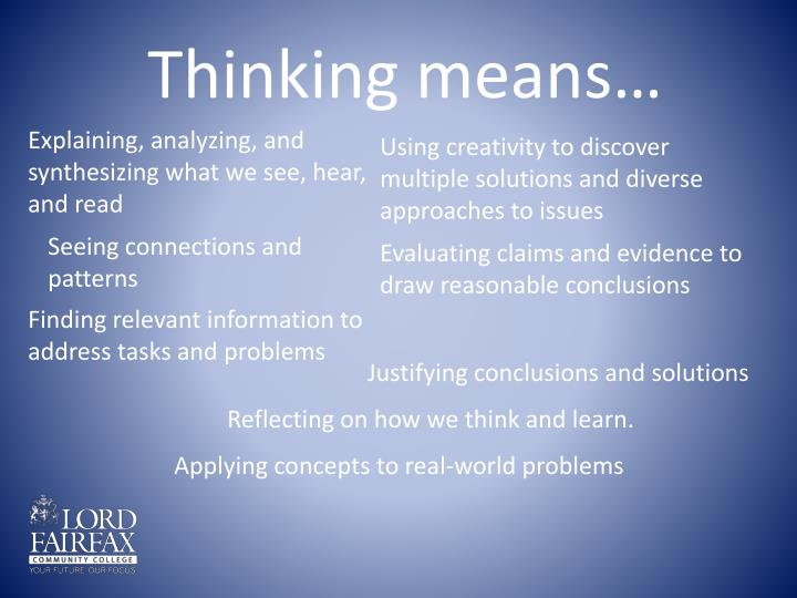 Thinking means…